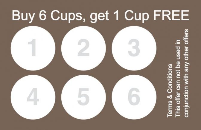 Collect 6 stamp Coffee Reward Card