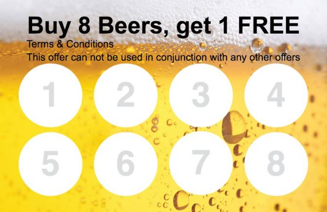 Beer Loyalty Card Collect 8 Stamp