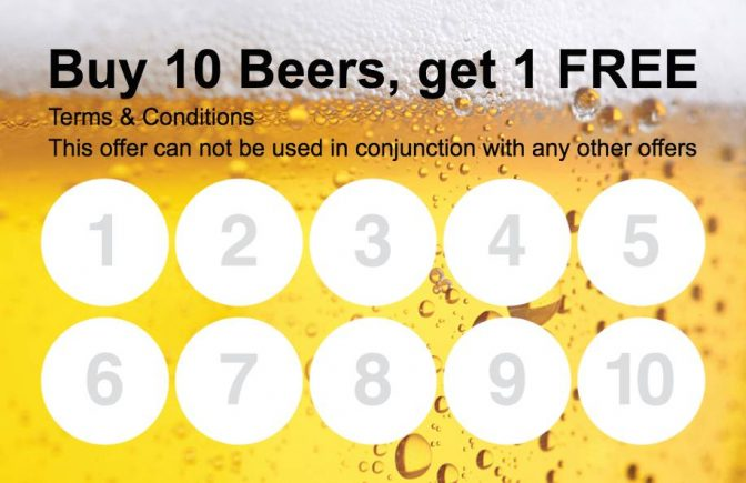 Beer Loyalty Card Collect 10 Stamp