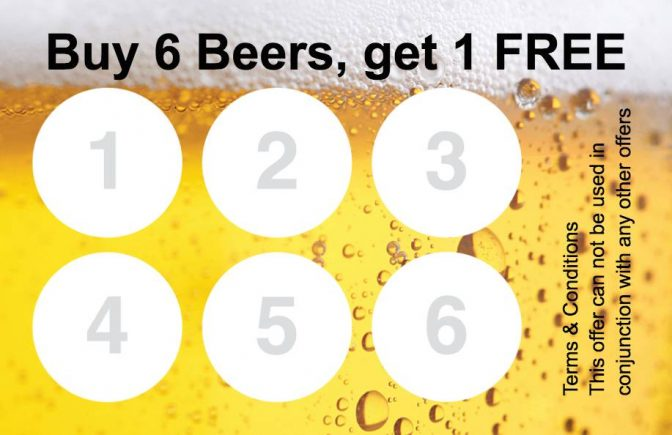 Beer Loyalty Card Collect 6 Stamp